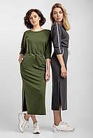 Женское длинное трикотажное платье «Тальяна» (Хаки, серое| 42-44, 44-46, 46-48)
