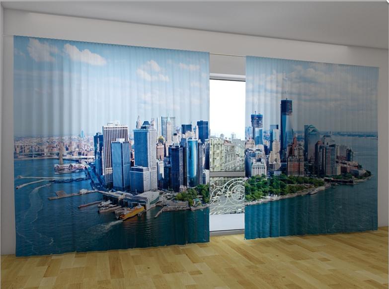 """Панорамные Фото шторы """"Нью-Йорк вид с облаков"""" 270 х 500 см"""