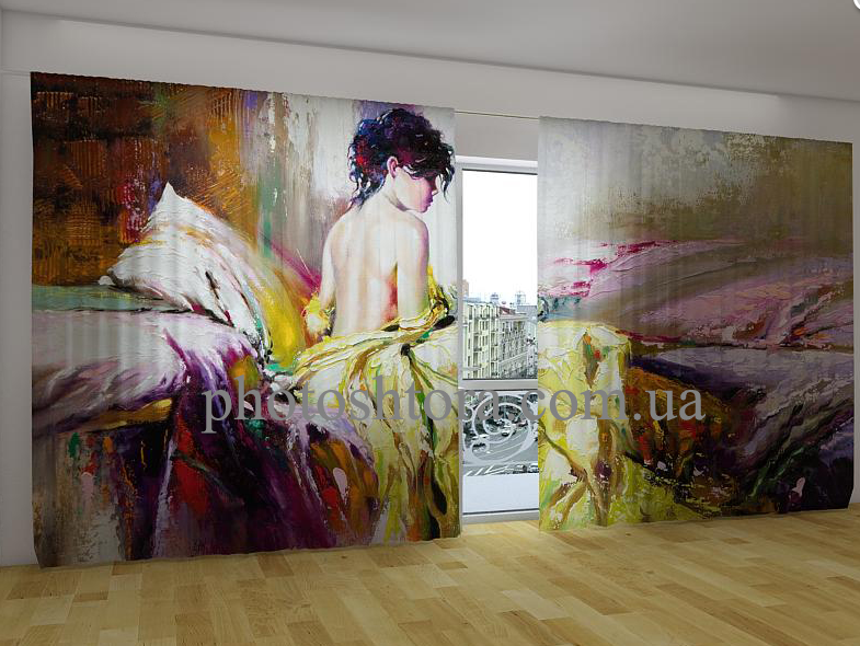 "Панорамные Фото шторы ""Девушка на картине"" 270 х 500 см"