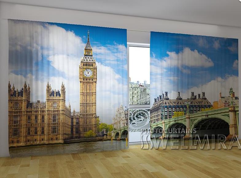 """Панорамні Фото штори """"Старий Лондон"""" 270 х 500 см"""