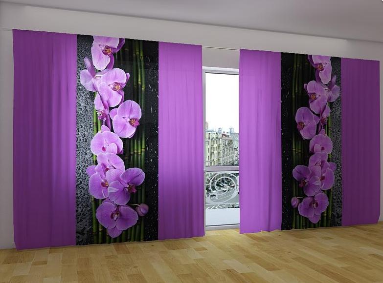 """Панорамные Фото шторы """"Орхидеи на черном"""" 270 х 500 см"""