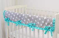 """Защита на верх бортика кроватки из хлопка """"Звёзды с мятой"""""""