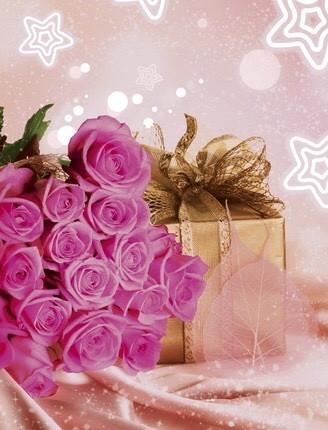 Полиэтиленовый пакет с петлевой ручкой 230*290 мм Роза розовая