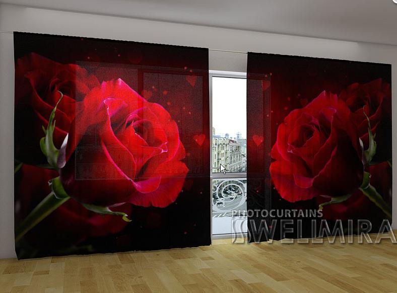 """Панорамные Фото шторы """"Красное сердце"""" 270 х 500 см"""