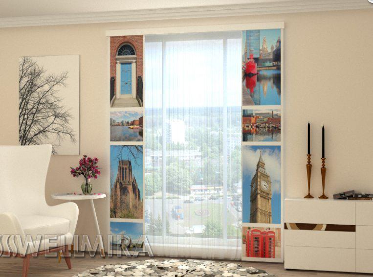 """Панельні Фото штори """"Визначні місця Лондона"""" 80 х 225 см"""