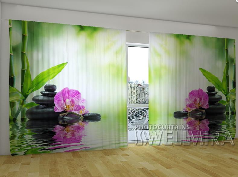 """Панорамні Фото штори """"Орхідеї і сонце"""" 270 х 500 см"""
