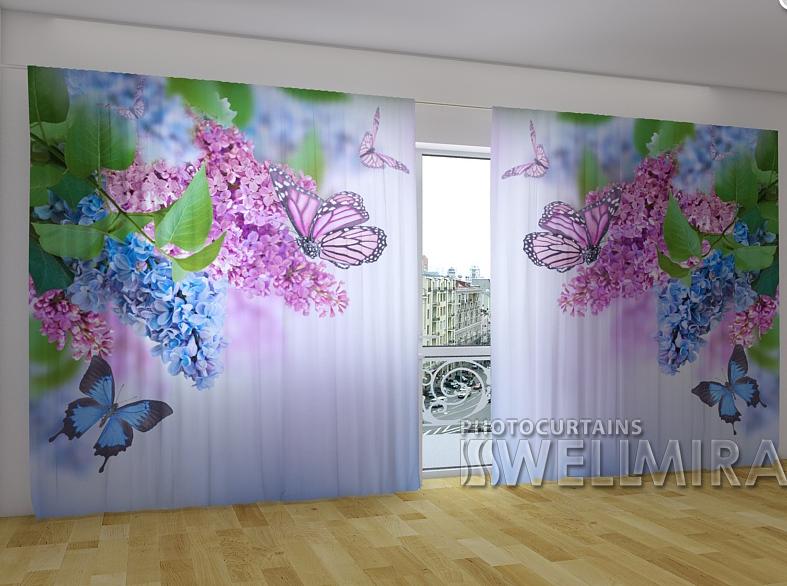 """Панорамные Фото шторы """"Сирень и бабочки"""" 270 х 500 см"""