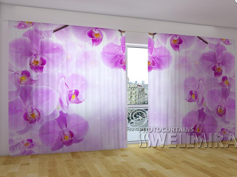 """Панорамные Фото шторы """"Звездные Орхидеи"""" 270 х 500 см"""