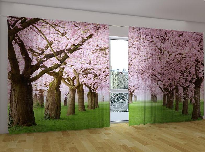"""Панорамні Фото штори """"Рожеві дерева"""" 270 х 500 см"""