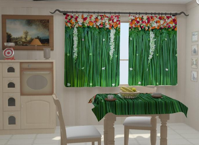 """Штори на кухню """"Ламбрекени з квітів 2"""" 150 х 250 см"""