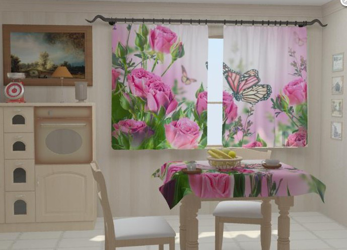 """Шторы в кухню """"Розовые нотки в кухне"""" 150 х 250 см"""