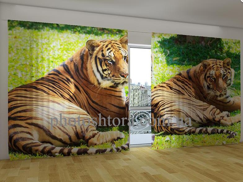 """Панорамні Фото штори """"Бенгальські тигри"""" 270 х 500 см"""