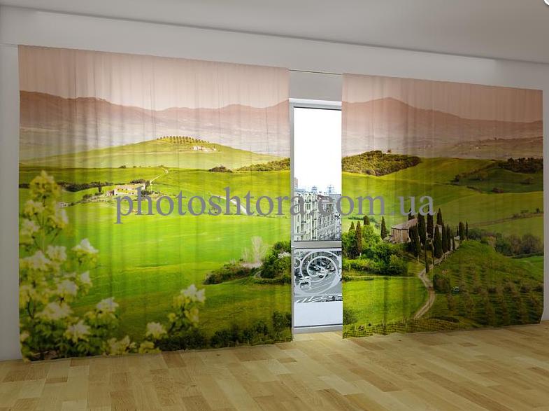 """Панорамні Фото штори """"Пейзаж Тоскани"""" 270 х 500 см"""