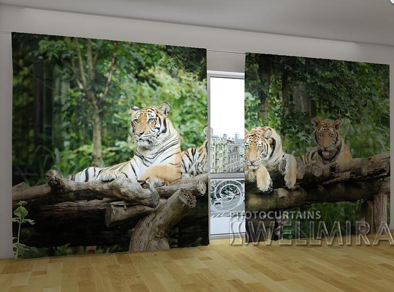 """Панорамні Фото штори """"Молоді тигри"""" 270 х 500 см"""