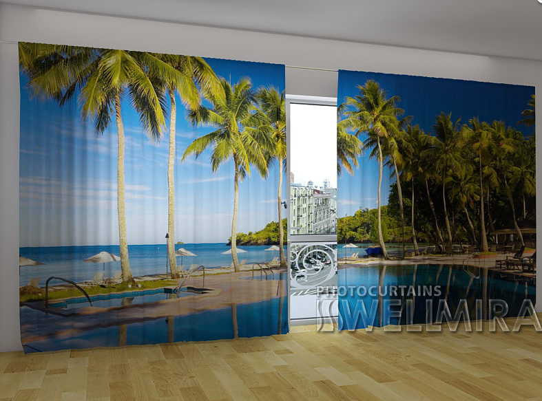 """Панорамні Фото штори """"Алея пальм"""" 270 х 500 см"""