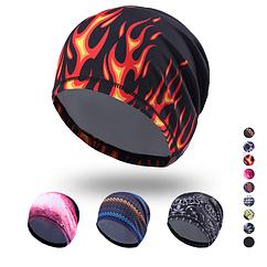 Утепленная эластичная спортивная шапка-бини / шапка-трансформер из лайкры «NorthFlag» KW