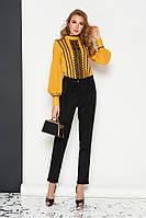 Женские классические брюки замшевые со стрелками черные