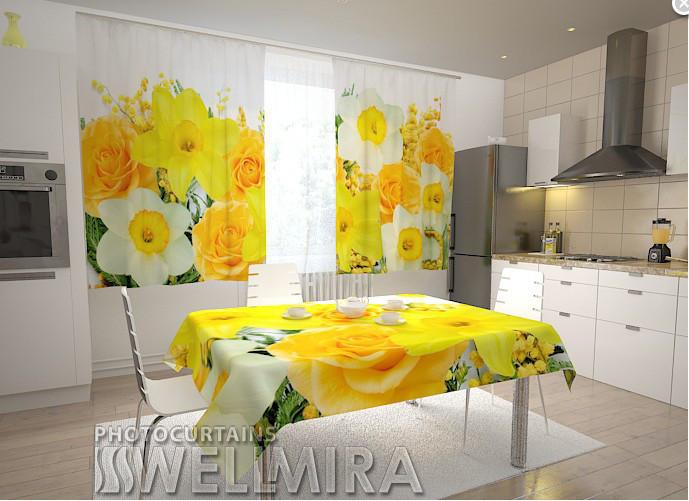 """Шторы в кухню """"Розы и нарцисы"""" 150 х 250 см"""