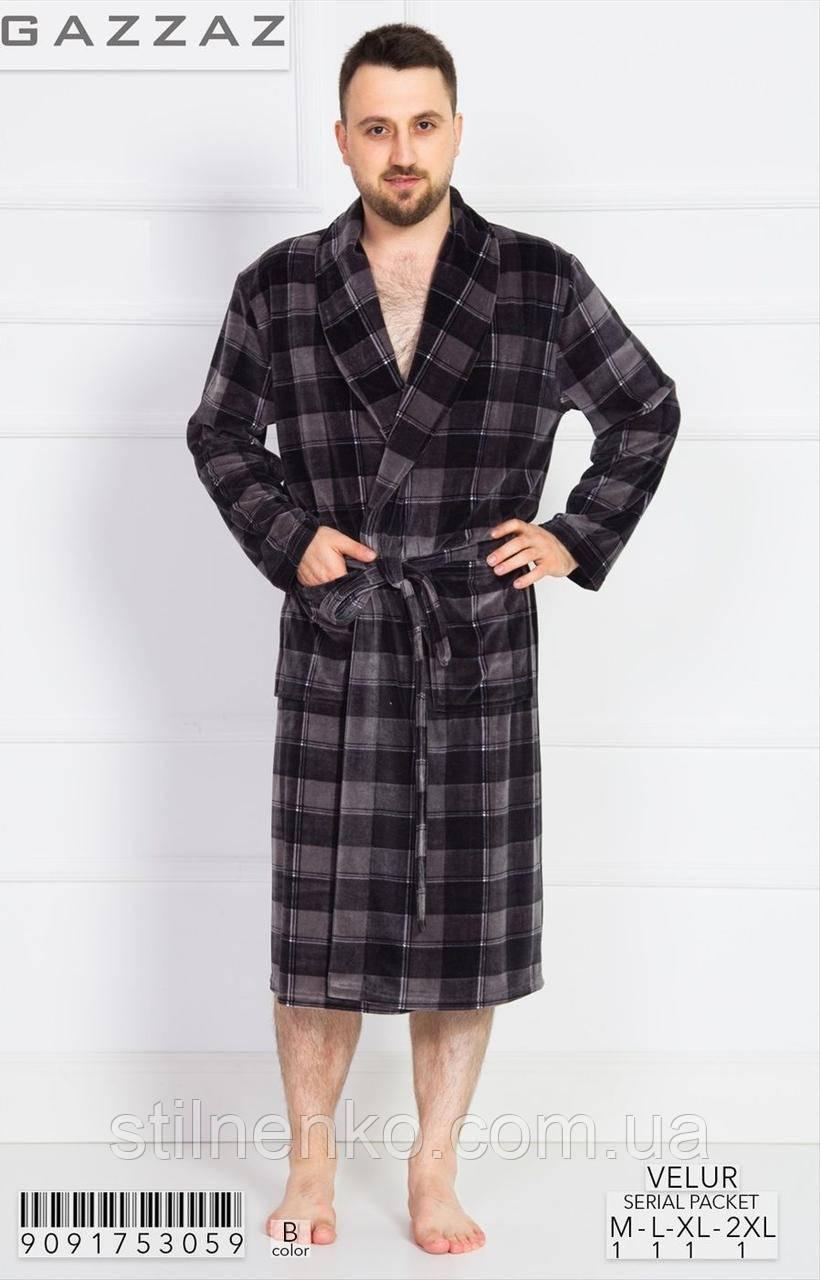 Мужской халат с карманами в крупную клетку