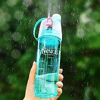 """Спортивная / вело пластмассовая фляга / бутылка-спрей """"NEW.B"""" с распылителем и колпачком (600 мл)"""