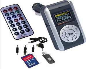 Автомобильный MP3 плеер с FM трансмиттером W-500 LCD экраномUSB SD/TF с переходниками.