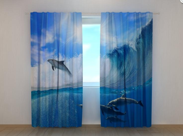 """Фото шторы """"Дельфины"""" 250 х 260 см"""