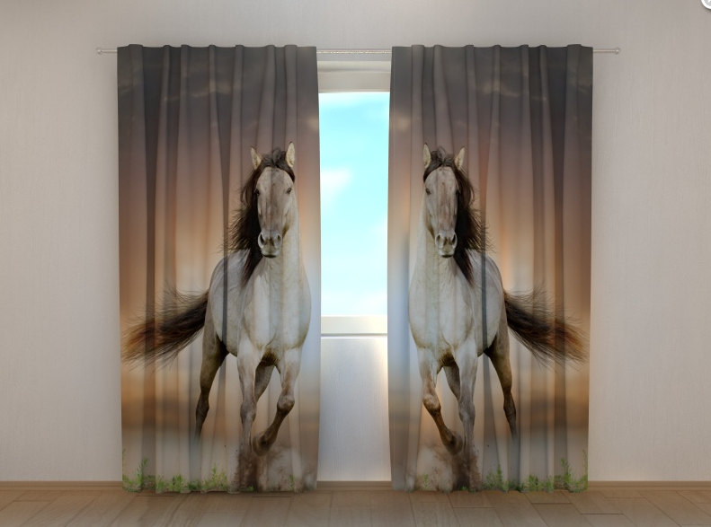 """Фото штори """"Два коні"""" 250 х 260 см"""