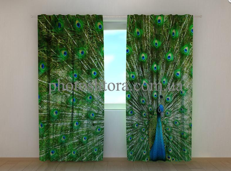 """Фото шторы """"Красивый павлин"""" 250 х 260 см"""