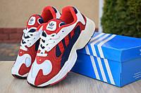 Кроссовки женские Adidas Yung белые с красным и синим, фото 1