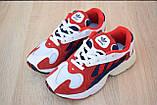 Кроссовки женские Adidas Yung белые с красным и синим, фото 2