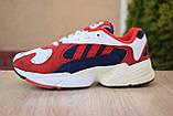 Кроссовки женские Adidas Yung белые с красным и синим, фото 3