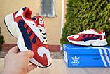 Кроссовки женские Adidas Yung белые с красным и синим, фото 4