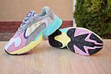 Кроссовки женские Adidas Yung белые с розовым и желтым, фото 3