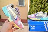 Кроссовки женские Adidas Yung белые с розовым и желтым, фото 5