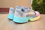 Кроссовки женские Adidas Yung белые с розовым и желтым, фото 6
