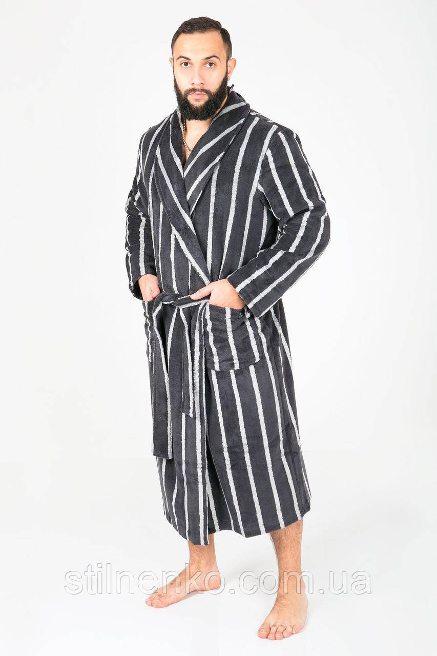 Мужской халат с карманами в полоску