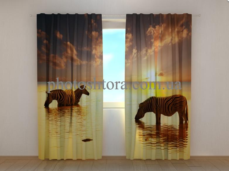 """Фото шторы """"Зебры у воды"""" 250 х 260 см"""