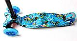 Самокат трехколесный детский Maxi светящиеся колеса принт Nemo, фото 3
