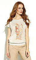 Летняя блузка бежевого цвета с коротким рукавом. Модель Tamadur Zaps, коллекция весна-лето 2020