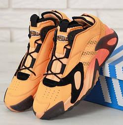 Мужские кроссовки Adidas Streetball Black оранжевые. Фото в живую. Реплика