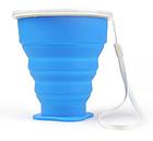 Складаний дорожній туристичний силіконовий склянку БЕЗЗВУЧНИЙ з кришкою і металевим обідком +220°C, 210 мл, фото 4