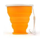 Складаний дорожній туристичний силіконовий склянку БЕЗЗВУЧНИЙ з кришкою і металевим обідком +220°C, 210 мл, фото 5
