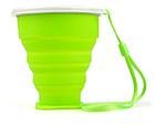 Складаний дорожній туристичний силіконовий склянку БЕЗЗВУЧНИЙ з кришкою і металевим обідком +220°C, 210 мл, фото 7