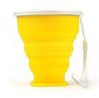 Складаний дорожній туристичний силіконовий склянку БЕЗЗВУЧНИЙ з кришкою і металевим обідком +220°C, 210 мл, фото 8