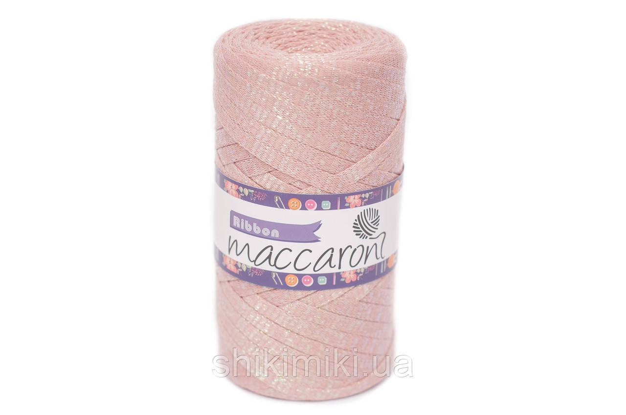 Трикотажный плоский шнур Ribbon Glitter, цвет Пудра
