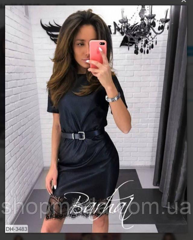 Платье женское эко кожа черного цвета. По низу платьякружево. Короткое платье из эко кожи латекс.
