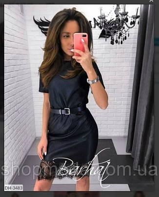 Платье женское эко кожа черного цвета. По низу платьякружево. Короткое платье из эко кожи латекс., фото 2