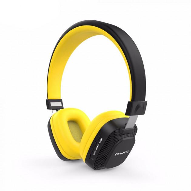 Бездротові Bluetooth-навушники гарнітура накладні Awei A760BL Black/Yellow