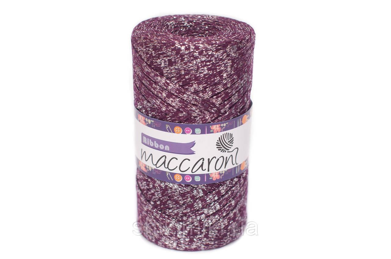 Трикотажный плоский шнур Ribbon Glitter, цвет Бордо