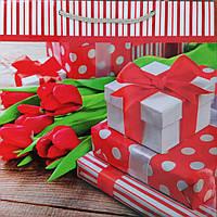 Пакет подарочный бумажный квадрат 21х25х8